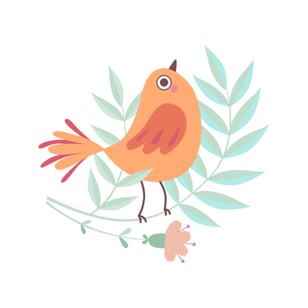 Cute Little Bird Sitting on Tree Branch, Adorable Symbol of Spring Vector Illustration on White Background.