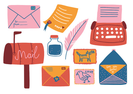 Conjunto de suministros de correos, buzón, cartas, postales, bolígrafos, tintero, máquina de escribir, ilustración vectorial sobre fondo blanco.