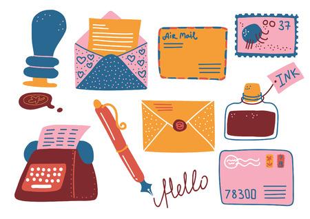 Ensemble de fournitures de poste rétro, boîte aux lettres, lettres, carte postale, stylo, encrier, machine à écrire Vector Illustration Illustration sur fond blanc