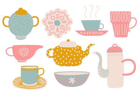 Lindo juego de té, elementos de la fiesta del té con tetera, taza de té, platillo, jarra de leche y servilleta ilustración vectorial sobre fondo blanco. Ilustración de vector