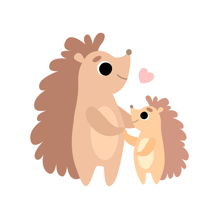 Mother Hedgehog and Its Baby, Cute Forest Animal Family Vector Illustration on White Background.