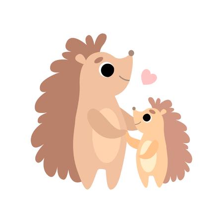 Mutter-Igel und sein Baby, niedliche Waldtierfamilie-Vektor-Illustration auf weißem Hintergrund.