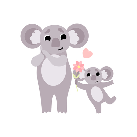 Mother Koala and Its Baby, Cute Animal Family Vector Illustration on White Background.