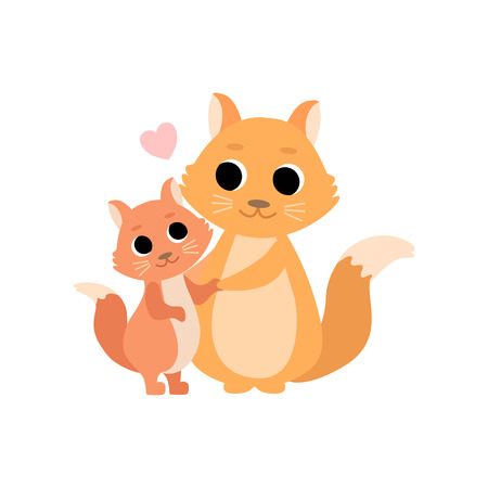 Mother Squirrel and Its Baby, Cute Forest Animal Family Vector Illustration on White Background.