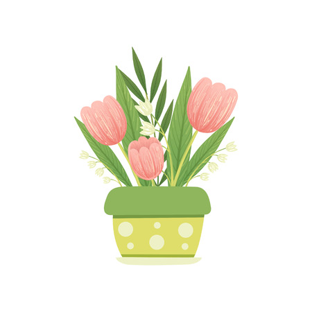 Bouquet of Pink Tulips and Lilies of the Valley in Flower Pot, Hello Spring Floral Design Template Vector Illustration on White Background.