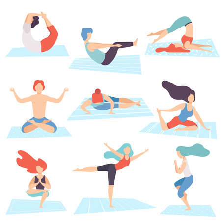 People in Yoga Positions Set, Men and Women Practicing Asana and Performing Yoga Exercises and Meditating Vector Illustration on White Background.