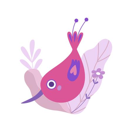Cute Little Bird with Long Beak, Symbol of Spring Vector Illustration on White Background.