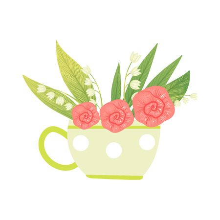 Bouquet of Pink Flowers and Lilies of the Valley in Cup, Hello Spring Floral Design Template Vector Illustration on White Background. Illustration