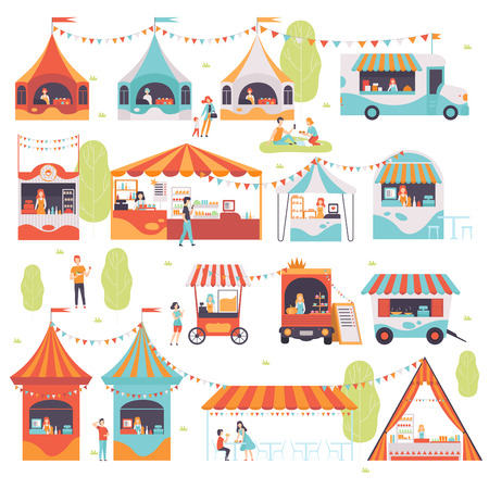 Street Food Set, Sellers Selling Food at Cafe, Kiosk, Booth, Food Truck and Cart Vector Illustration Illustration