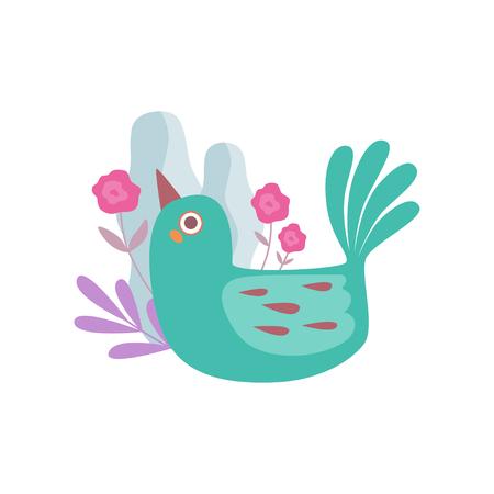 Cute Little Green Nesting Bird, Symbol of Spring Vector Illustration on White Background. Çizim