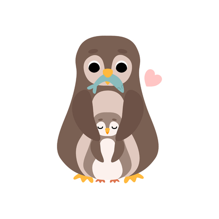 Mother Penguin and Its Baby, Cute Birds Family Vector Illustration on White Background. Ilustração