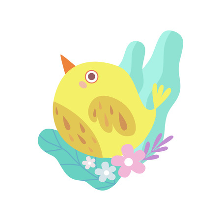 Cute Little Yellow Bird, Symbol of Spring Vector Illustration on White Background.