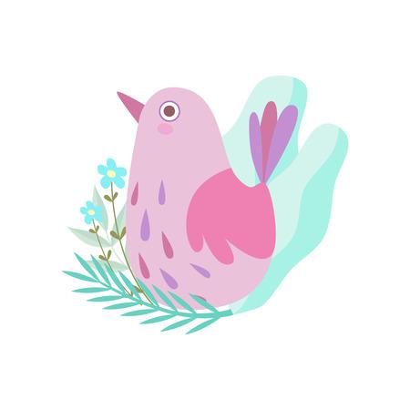 Cute Little Pink Bird, Symbol of Spring Vector Illustration on White Background. Çizim