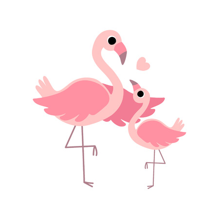Beautiful Mother Flamingo and Its Baby, Cute Exotic Birds Family Vector Illustration on White Background.