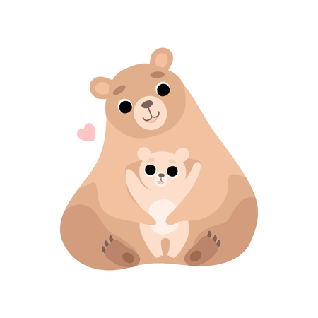 Mother Bear and Its Baby, Cute Forest Animal Family Vector Illustration on White Background. Stock Illustratie