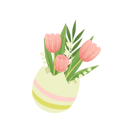 Bouquet of Tulips in Vase, Hello Spring Floral Design Template Vector Illustration on White Background. Ilustracja