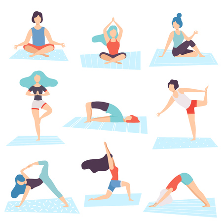 People in Yoga Positions Set, Men and Women Practicing Asana and Performing Yoga Exercises Vector Illustration on White Background.