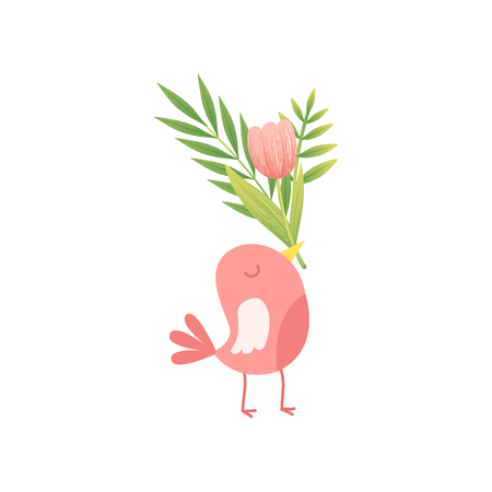 Cute Bird Holding Bouquet of Pink Tulip Flowers in Its Beak, Hello Spring Floral Design Template Vector Illustration on White Background.