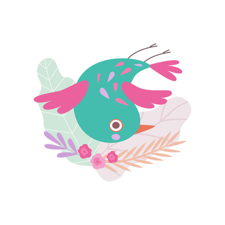 Cute Colorful Nesting Bird, Symbol of Spring, Bird Sitting in Nest Upside Down Vector Illustration on White Background. Çizim