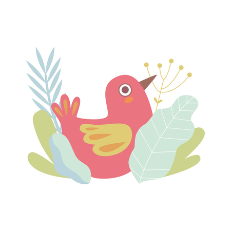 Cute Little Red Nesting Bird, Symbol of Spring Vector Illustration on White Background. Illustration