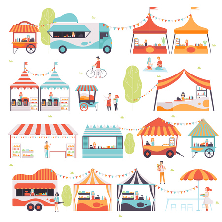 Street Food Set, Verkäufer verkaufen Lebensmittel am Kiosk, Stand, Food Truck und Cart Vector Illustration auf weißem Hintergrund. Vektorgrafik