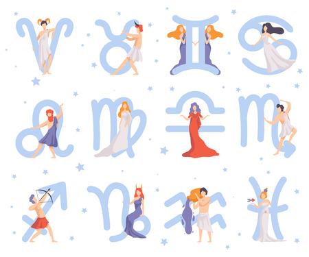 Sternzeichen-Set, zwölf schöne Frauen mit astrologischen Zeichen-Vektor-Illustration