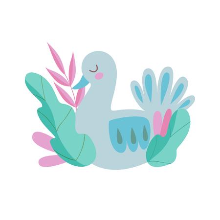 Cute Nesting Bird, Symbol of Spring Colorful Vector Illustration