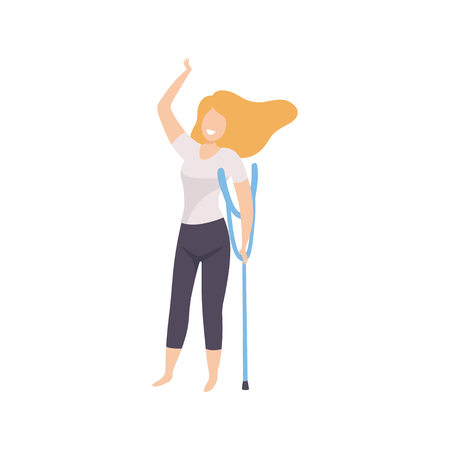 Happy Young Woman in Casual Clothes with Crutches, Body Positive, Self Acceptance and Beauty Diversity Concept Vector Illustration on White Background. Illustration