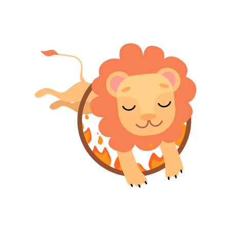 Leo Jumping Through Ring of Fire, Cute Funny Animal Performing in Circus Show Vector Illustration on White Background.