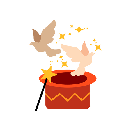Pigeons Flying Out From Magic Hat, Cute Funny Animal Performing in Circus Show Vector Illustration