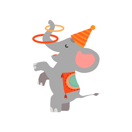 Cute Elephant Juggling with Hoops, Funny Animal Performing in Circus Show Vector Illustration on White Background.