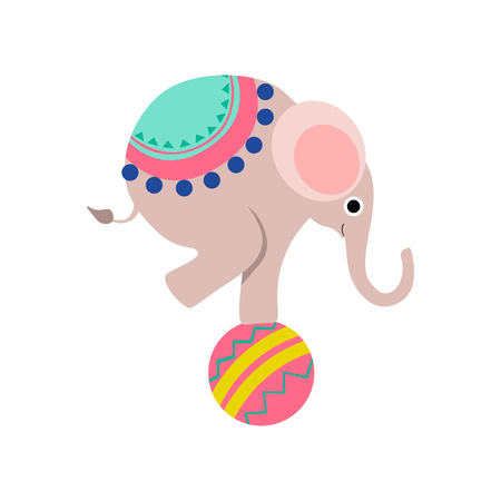 Elephant Balancing on Colorful Ball, Cute Funny Animal Performing in Circus Show Vector Illustration on White Background. Illusztráció
