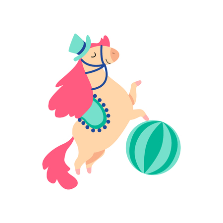 Cute Horse Animal Performing in Circus Show with Ball Vector Illustration on White Background.