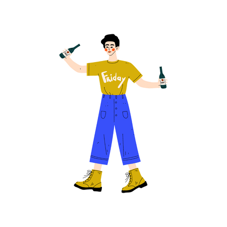 Young Man Drinking Beer, Drunk Guy in Casual Clothes Holding Two Bottles of Alcohol Drink Vector Illustration on White Background. Illustration