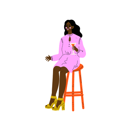 Young African American Woman Sitting on Bar Chair with Glass of Alcohol Drink Vector Illustration on White Background. Illustration