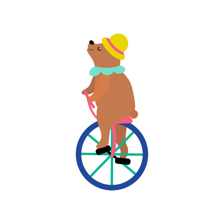 Cute Bear in Hat Riding Unicycle, Funny Animal Performing in Circus Show Vector Illustration on White Background. Illusztráció