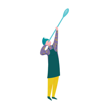 Man Blowing Glass, Male Glassblower or Glassworker Character, Hobby or Profession Vector Illustration Illustration
