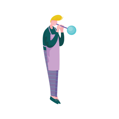 Young Man Blowing Glass, Male Glassblower or Glassworker Character, Hobby or Profession Vector Illustration