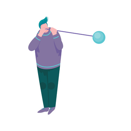 Overweight Man Blowing Glass Vessel, Male Glassblower or Glassworker Character, Hobby or Profession Vector Illustration Illustration