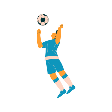 Soccer Player with Ball, Male Footballer Character in Blue Sports Uniform Vector Illustration on White Background.