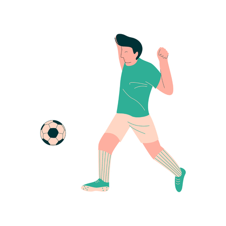 Soccer Player Shooting Ball, Male Footballer Character in Sports Uniform Vector Illustration Ilustracja
