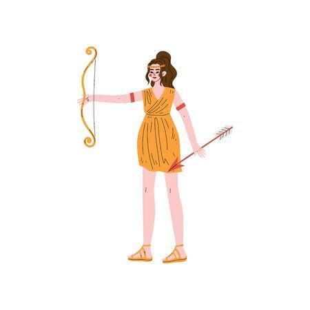 Artemis Greek Goddess, Ancient Greece Mythology Hero Vector Illustration Illustration