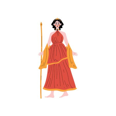Hera Greek Goddess, Ancient Greece Mythology Hero Vector Illustration