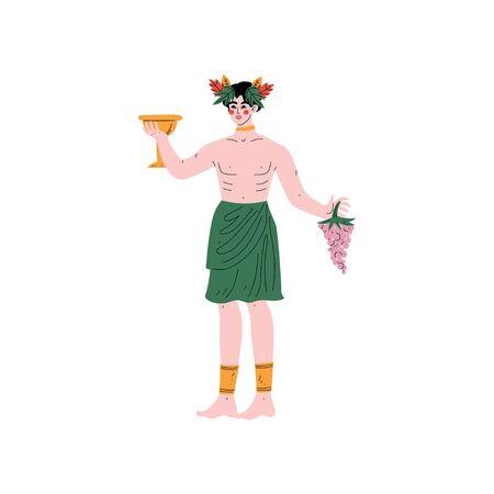 Dionysus Greek God, Ancient Greece Mythology Hero Vector Illustration Ilustrace