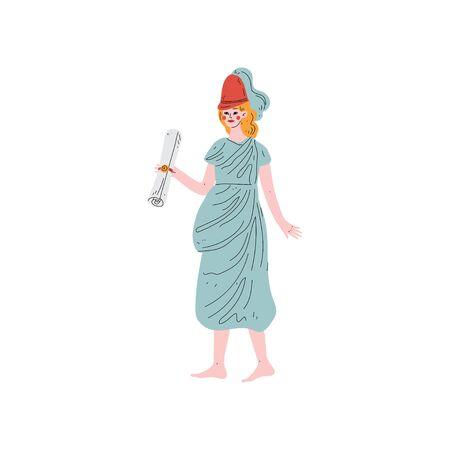 Klio Muse of Greek Mythology Vector Illustration