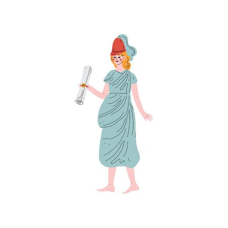Klio Muse of Greek Mythology Vector Illustration