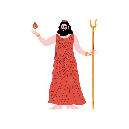 Hades Greek God, Ancient Greece Mythology Hero Vector Illustration Illustration