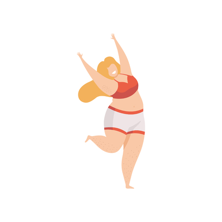 Happy Plump Woman in Underwear, Body Positive, Self Acceptance and Beauty Diversity Concept Vector Illustration on White Background.