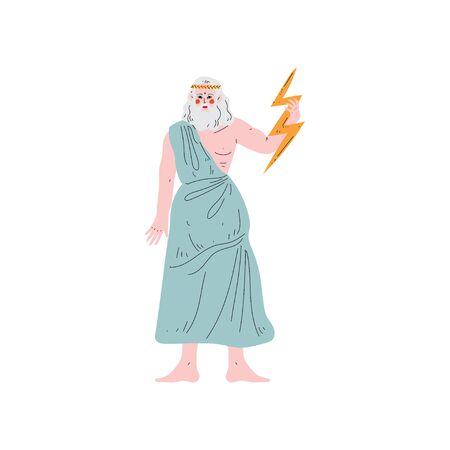 Zeus Greek God, Ancient Greece Mythology Hero Vector Illustration Illustration