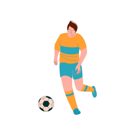 Male Soccer Player Playing Soccer, Footballer Character in Sports Uniform Vector Illustration on White Background. Zdjęcie Seryjne - 124856713